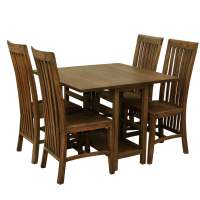 Pensacola Mindi Wood Drop Leaf Dining Table and Chair Set