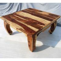 Solid Wood Large Rustic Sofa Cocktail Square Coffee Table ...