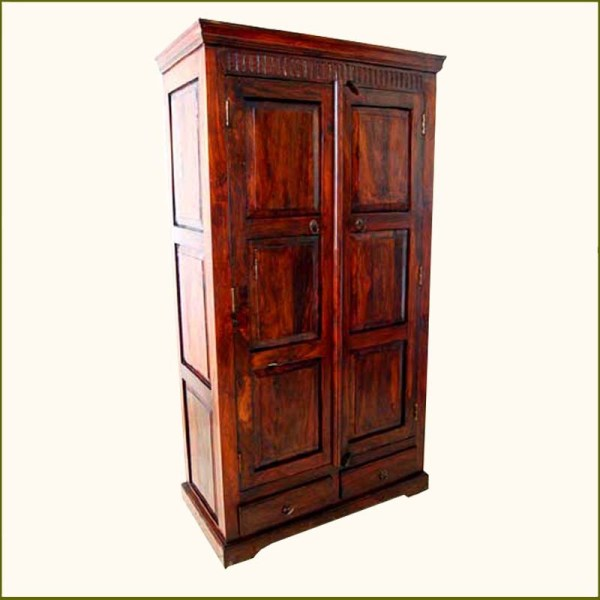 Mahogany Rustic Wood Storage Drawers Armoire Wardrobe