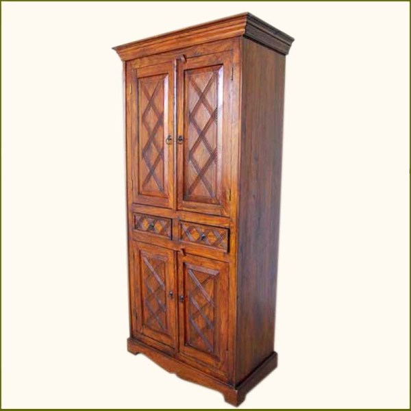Rustic Solid Wood Hand Storage Shelves Wardrobe