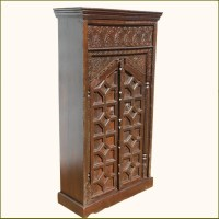 Wood Dark Brown Small Storage Armoire Wardrobe Closet