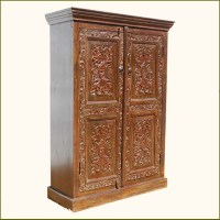 Wood Hand Carved Storage Armoire Clothes Wardrobe Closet w ...