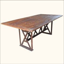"""Rustic Industrial Teak Wood Wrought Iron Large 78"""" Dining"""