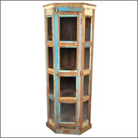Sierra Rustic Distressed Single Teak Wooden Door Curio