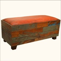 Old Reclaimed Wood Leather Upholstery Rustic Backless ...