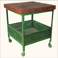 Industrial Iron & Wood Square Green Kitchen End Table ...