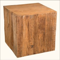 "Old Wood Reclaimed Railroad Tie 24"" Cube Pedestal End ..."