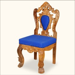 Wood Hand Chair Office Massage Royal Carved Gold And Blue Rococo Revival Accent