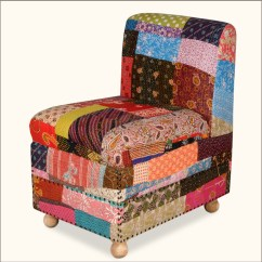 Oversized Upholstered Chair Bright Colored Desk Chairs Patch Quilt Armless Easy