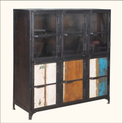 Kitchen Buffet Storage Cabinet Ikea Kitchens Cabinets Industrial Iron Rustic Reclaimed Wood