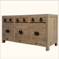 Rustic Reclaimed Wood Buffet Chest Weathered Storage ...