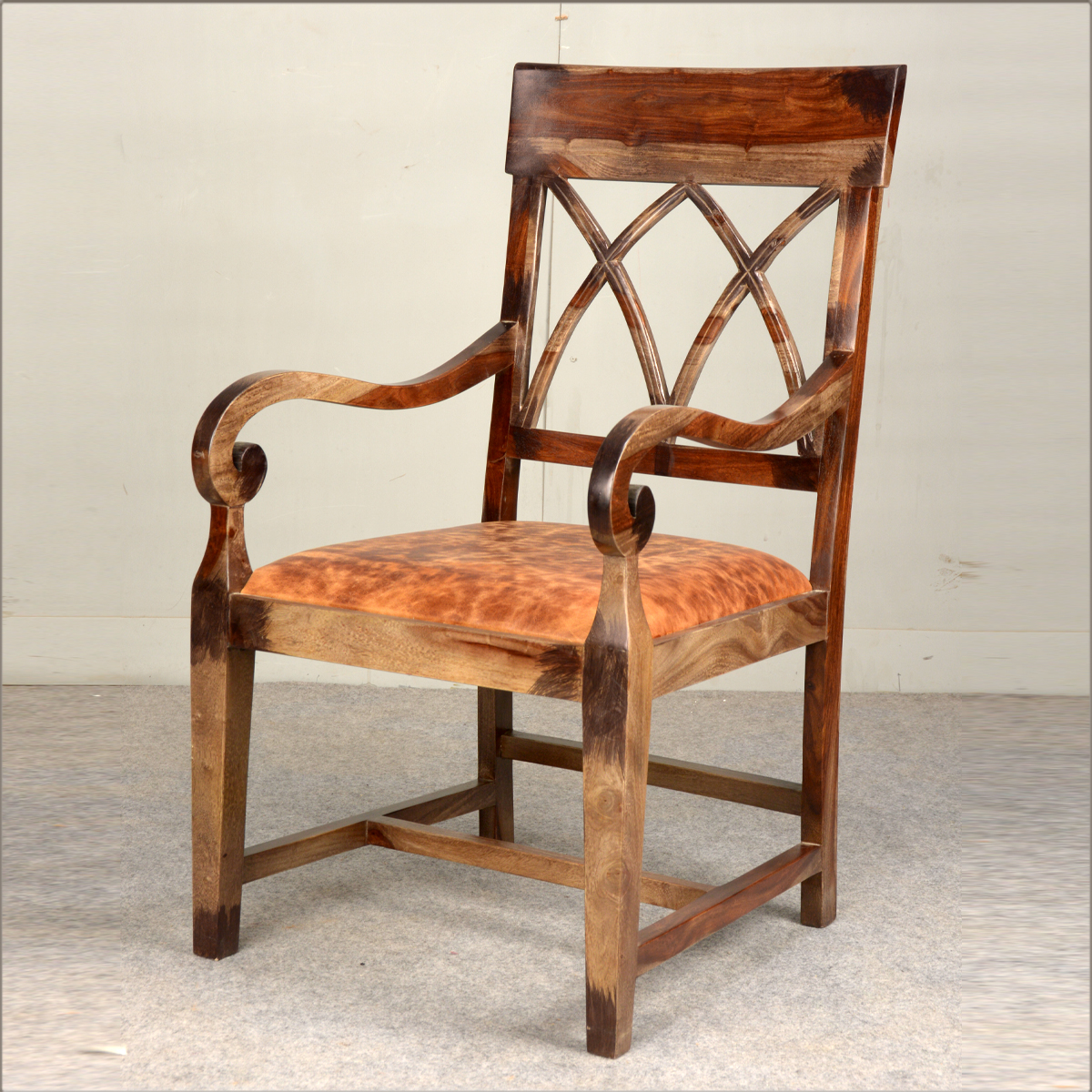 Rustic Solid Wood Amp Leather Upholstered Arm Dining Chair
