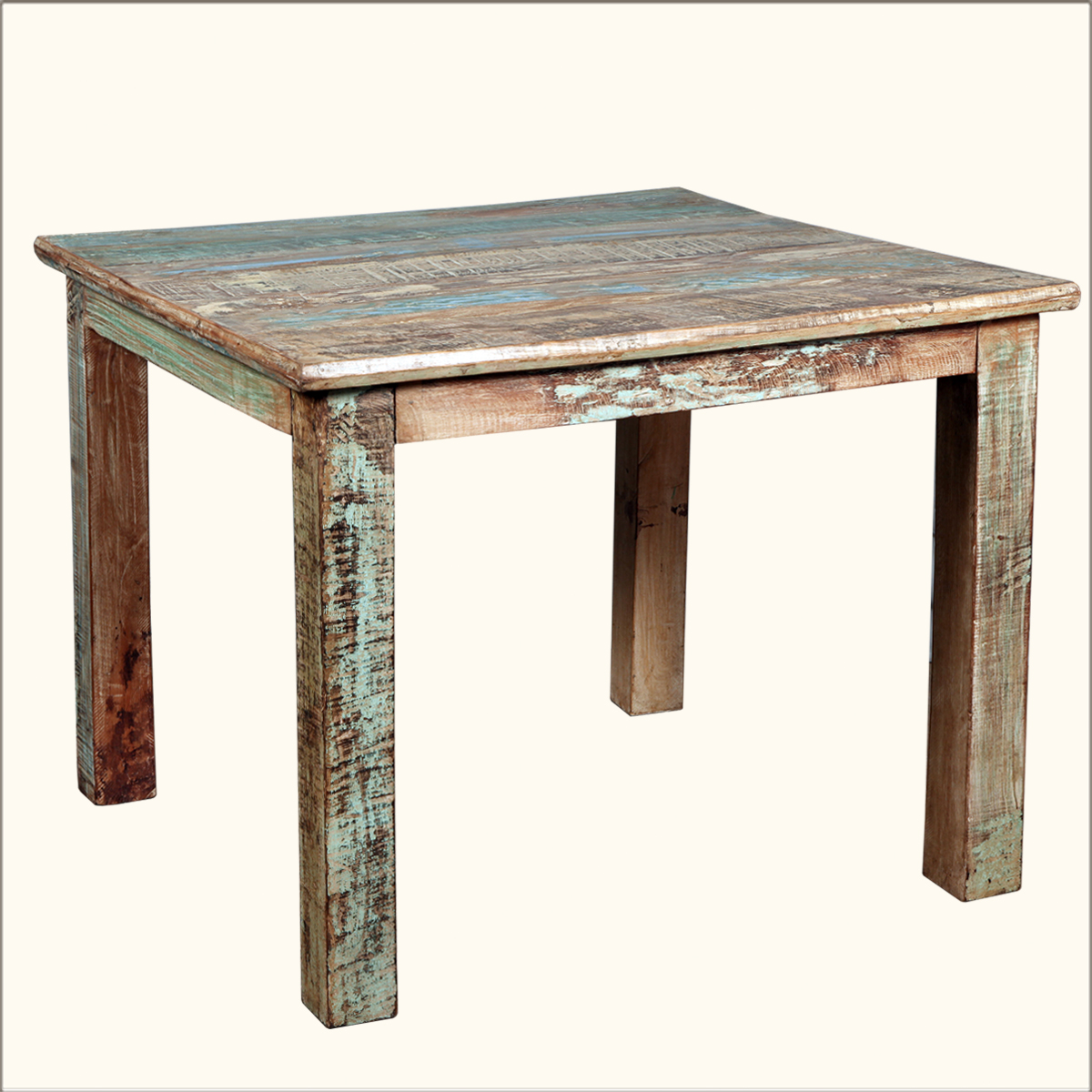 Rustic Reclaimed Wood Distressed 40 Square Kitchen Dining