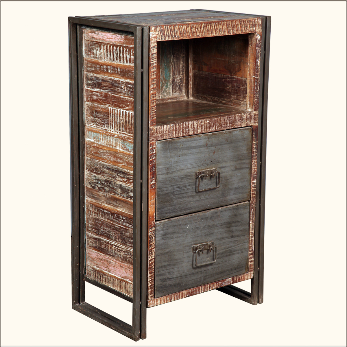 Industrial Old Wood Amp Iron Filing Cabinet Side Office End