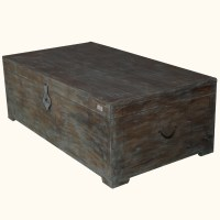 Rustic Mango Wood Distressed Storage Coffee Table Chest ...