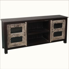 70 Inch Long Sofa Table Flowered Sets Quot Media Console Reclaimed Wood Tv Stand