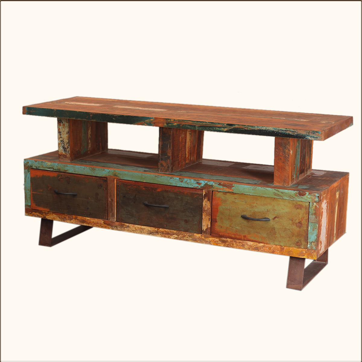 Distressed Media Console Rustic Reclaimed Wood Amp Iron TV