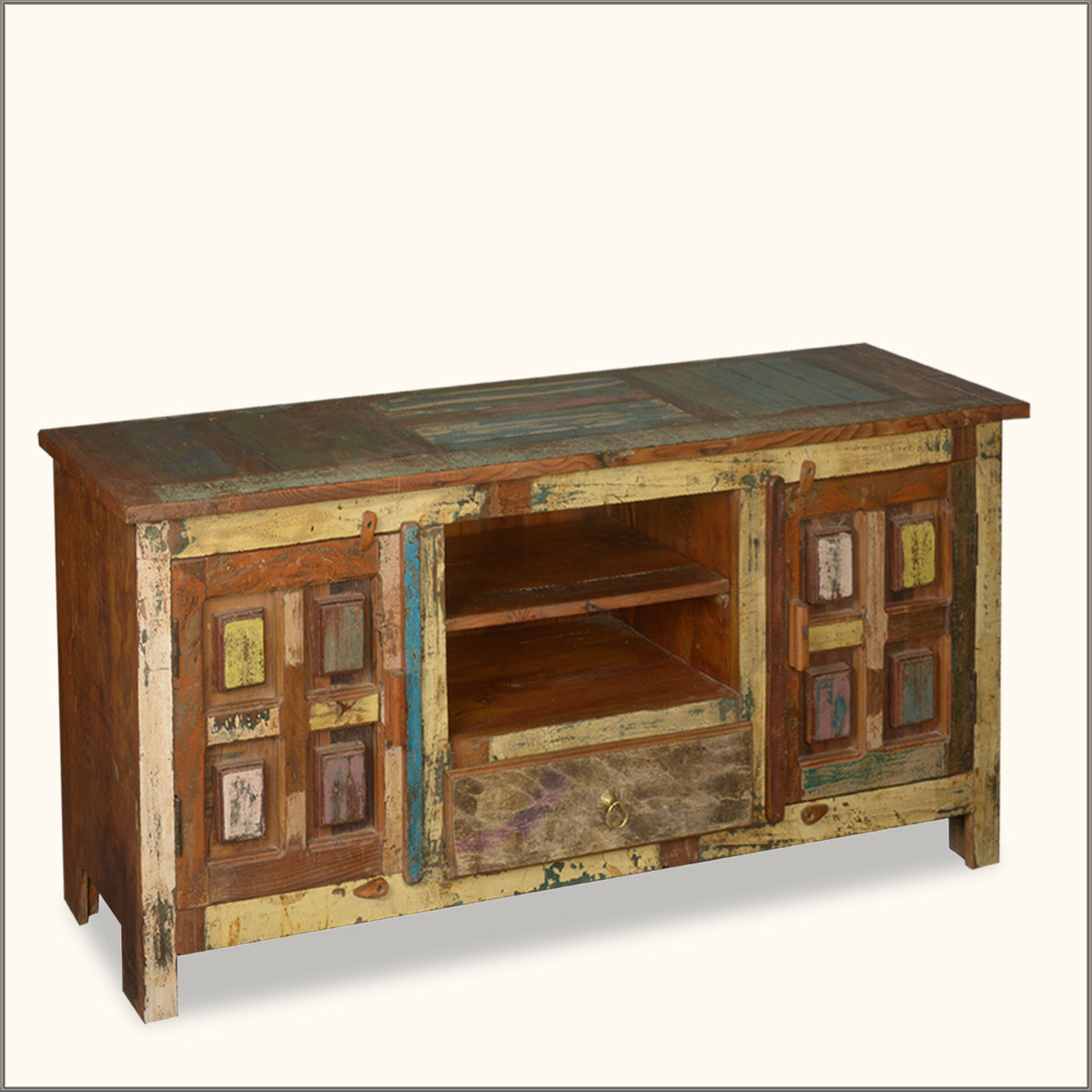 Distressed 60 Reclaimed Wood Media Console Storage