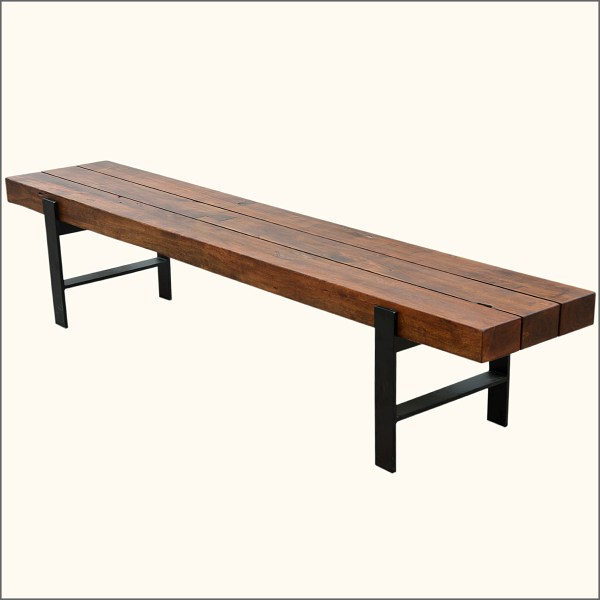 Industrial & Wood Modern Rustic Iron Base Factory Backless Dining Bench