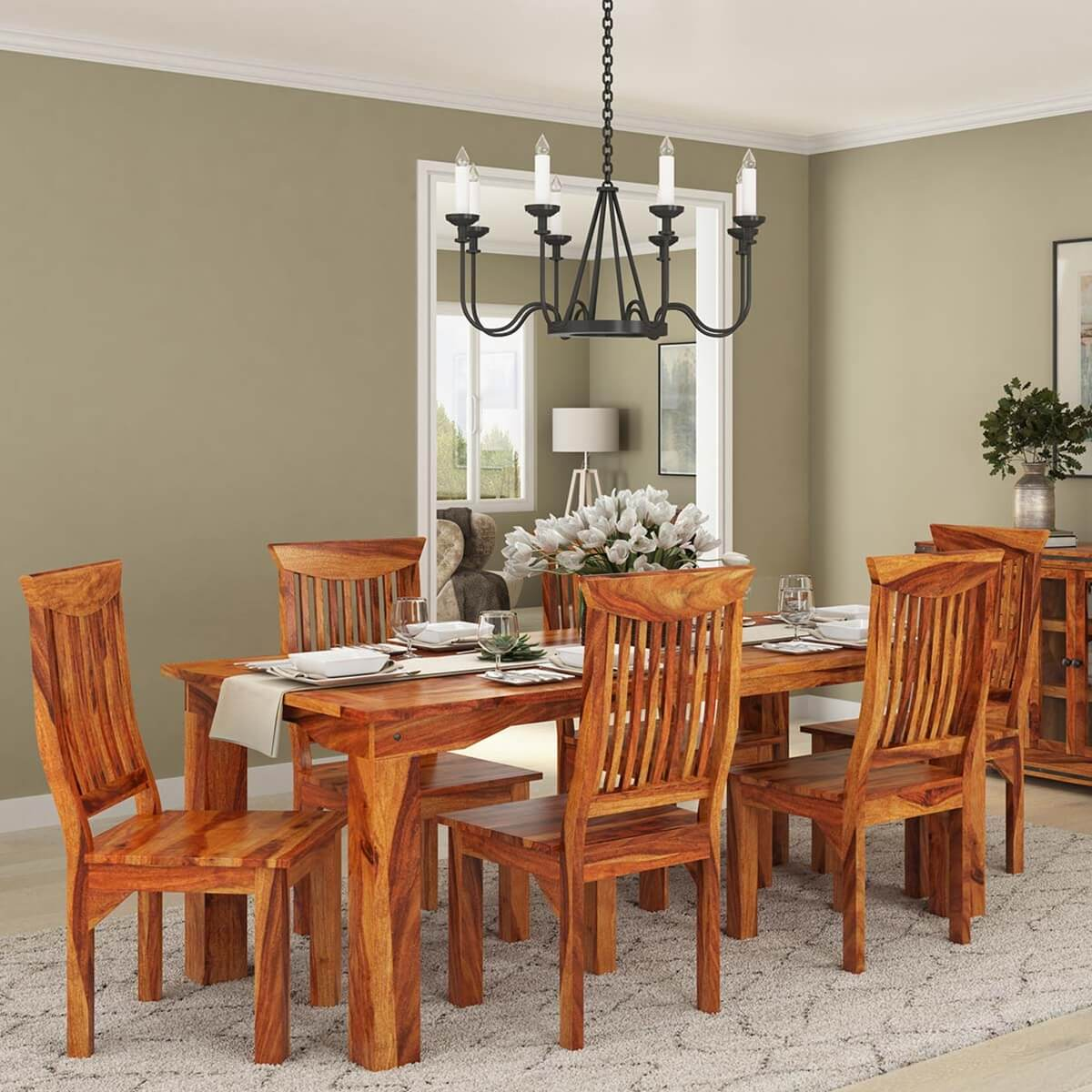 rustic dining table and chairs lazy boy chair parts idaho modern solid wood set