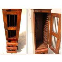 Solid Wood CD/DVD Media Storage Cabinet With CLOCK
