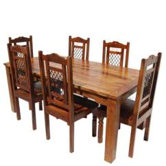 Solid Wood Dining Table And Chairs Boat Captain Chair Seat Covers Swiss Alps 7pc Farmhouse Set