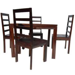 Solid Wood Dining Room Table And Chairs Desk Chair With Footrest Transitional Set