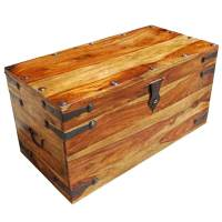Kokanee Rustic Solid Wood Blanket Storage Trunk Coffee