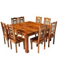 Rustic Solid Wood Square Block Legs Dining Table