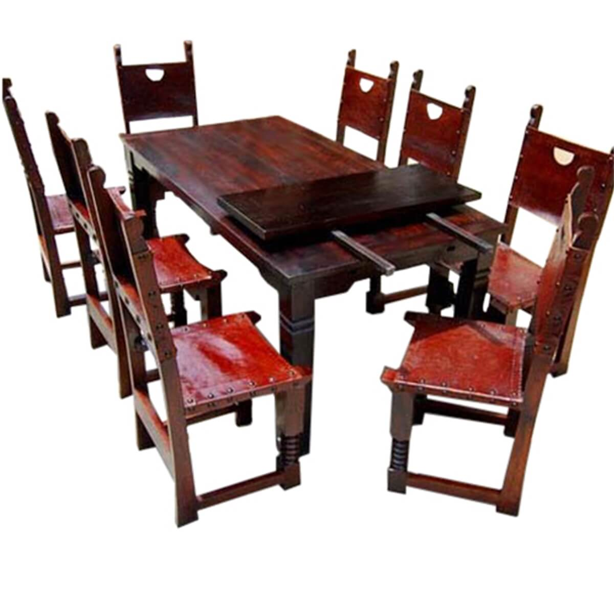 solid wood dining table and chairs chair cover hire leicestershire 9 pc rustic set w extension