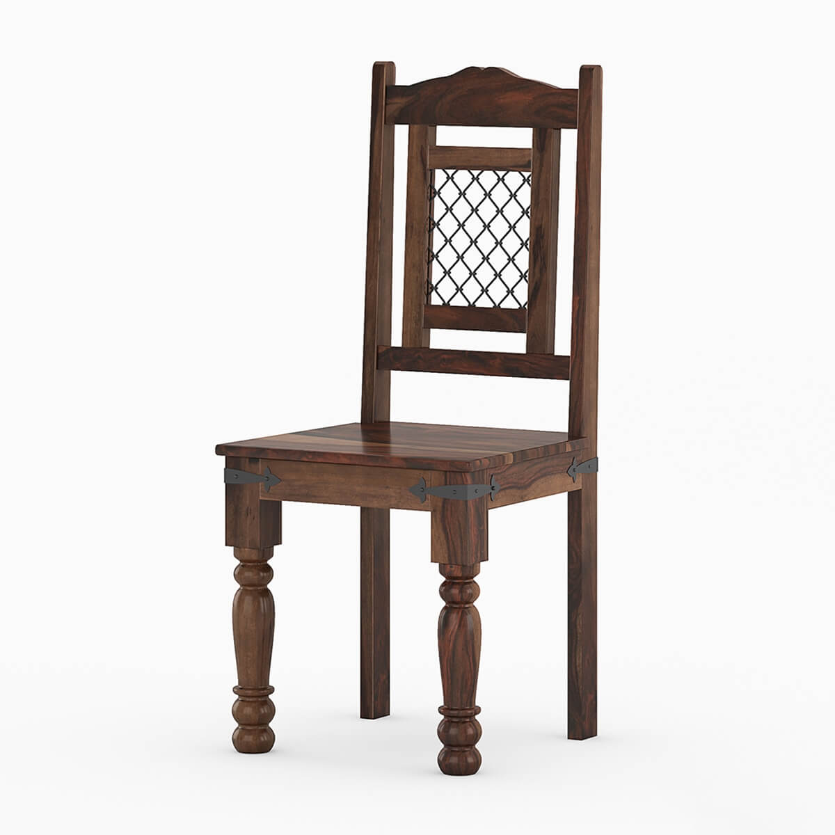 rustic dining room chairs pottery barn chair florida wood ethnic iron grill work