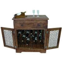 Hemlock Traditional Rustic Solid Wood Iron Grill Door Wine ...