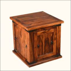 Sofa Side Table Wood Square Cushions Solid Storage Box Trunk End