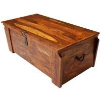 Grinnell Wooden Storage Trunk Chest Box Coffee Table