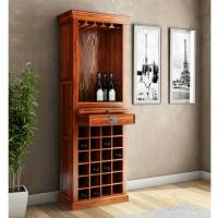Lovedale Rustic Mango Wood Tower Bar Cabinet with Wine Storage