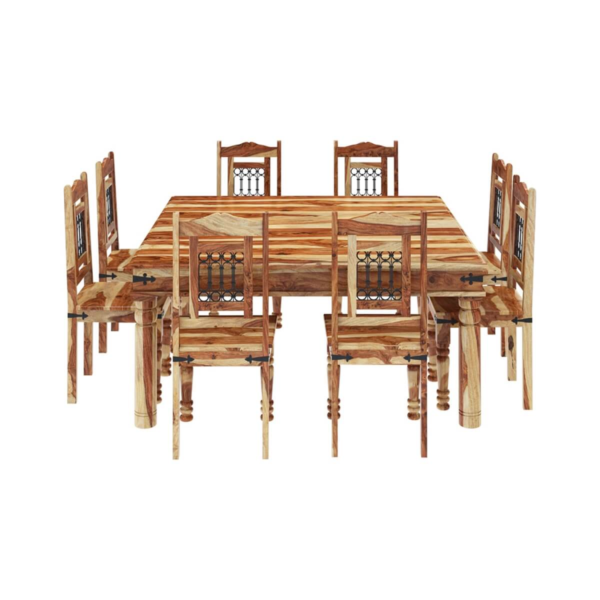 square table with 8 chairs leather ikea chair peoria solid wood large dining and set