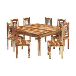 8 Chair Square Dining Table Sleek Room Chairs Peoria Solid Wood Large And Set