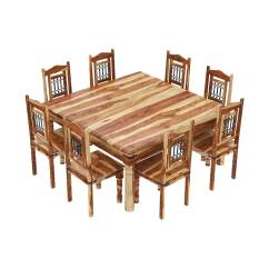 8 Chair Square Dining Table Cream Leather Chairs With Oak Legs Peoria Solid Wood Large And Set