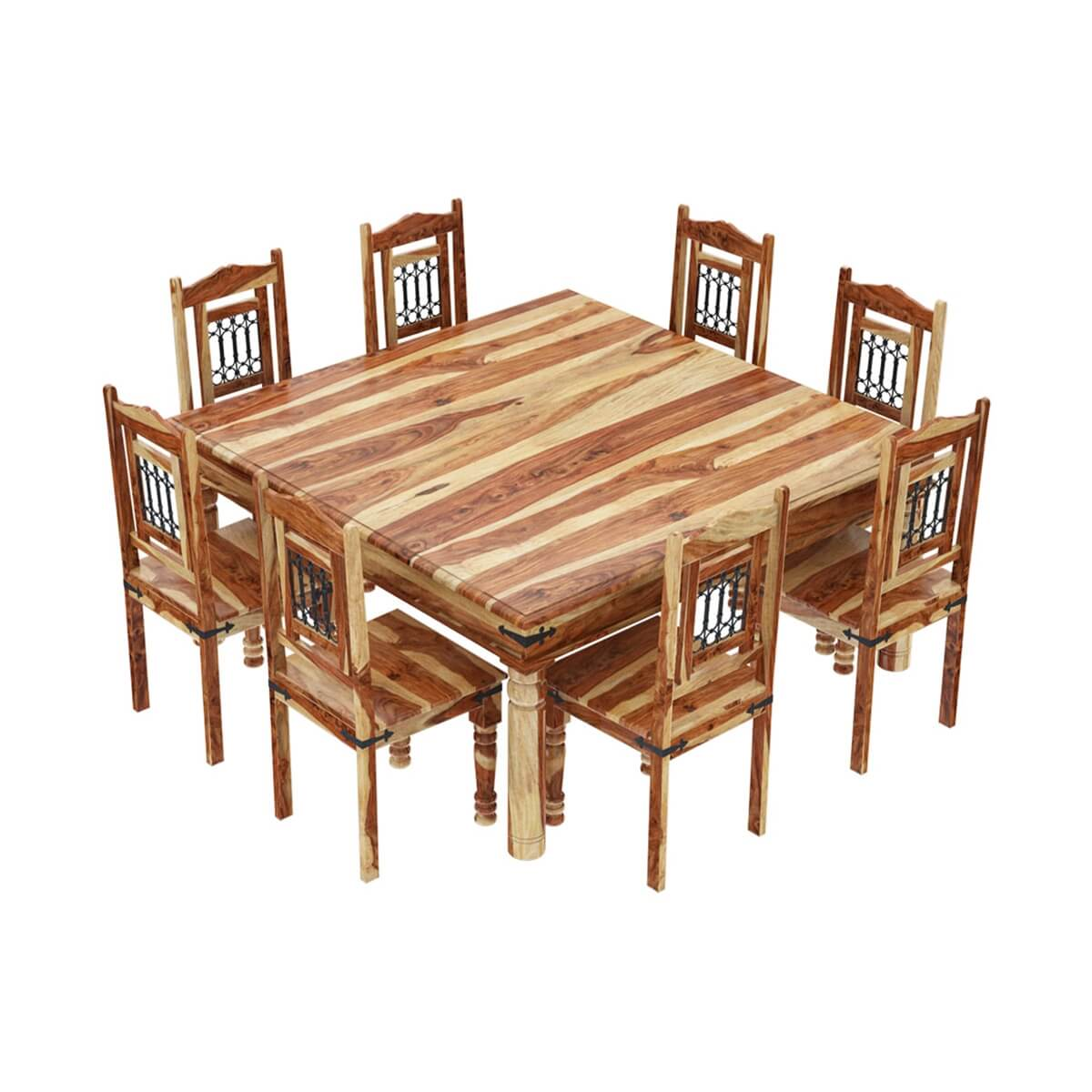 square table with 8 chairs memory foam chair cushions peoria solid wood large dining and set