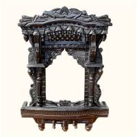 Black Jharokha Balcony Classic Column Wooden Frame