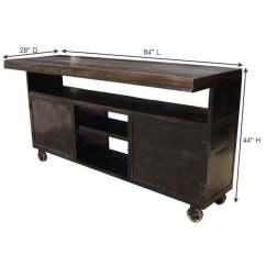 Industrial Kitchen Island Cabinets Wichita Ks Rolling Large Sideboard Buffet