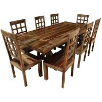Rustic Hardwood Double-X Pedestal Extendable Dining Table ...