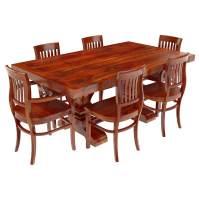 Siena Solid Wood Trestle Pedestal Dining Table & Barrel ...