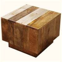 Key West Mango Wood Cube Accent End Table