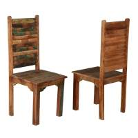 Rustic Distressed Reclaimed Wood Multi Color Dining Chairs ...