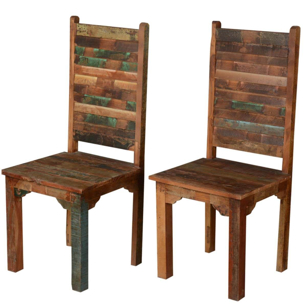 wooden restaurant chairs gaming chair pc rustic distressed reclaimed wood multi color dining