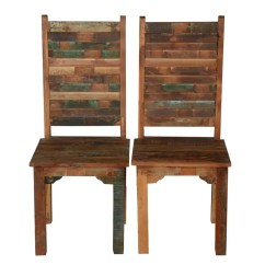 Distressed Dining Chairs Gaming Race Chair Rustic Reclaimed Wood Multi Color