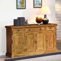 Courtdale Rustic Solid Wood 4 Door 3 Drawer Sideboard Cabinet