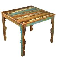 "Rustic Reclaimed Wood 36"" Square Dining Table w Decorative ..."