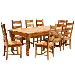 Rustic Dining Table And Chairs Real Good Chair Copper Solid Wood Farmhouse Room Set